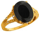 Gem Stone King 2.55 Ct Oval Black Onyx and White Topaz 14k Yellow Gold Ring