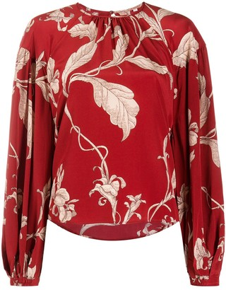 Johanna Ortiz Botanical-Print Balloon-Sleeved Blouse