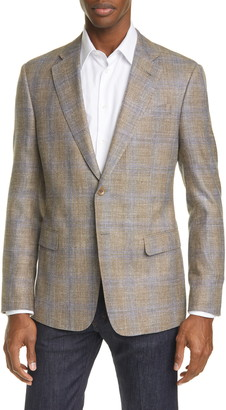 Giorgio Armani Trim Fit Plaid Wool & Silk Blend Sport Coat