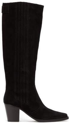 Ganni Western Knee-high Suede Boots - Womens - Black
