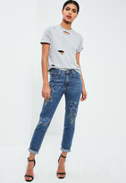 Missguided Blue High Rise Floral Embroidered Jeans