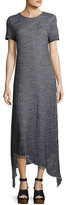 XCVI Riley Short-Sleeve Long Knit Dress w/ Asymmetric Hem, Indigo