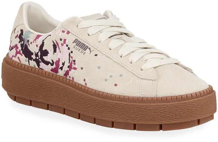 Basket Low Top Suede Digital Embroidered Platform Sneakers