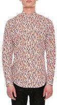 Versace Matchstick-Print Cotton Shirt, Multicolor