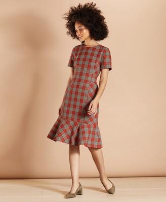 Brooks Brothers Plaid Flounce-Hem Dress
