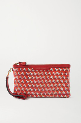 Anya Hindmarch Net Sustain I Am A Plastic Bag Leather-trimmed Printed Coated-canvas Pouch - Orange