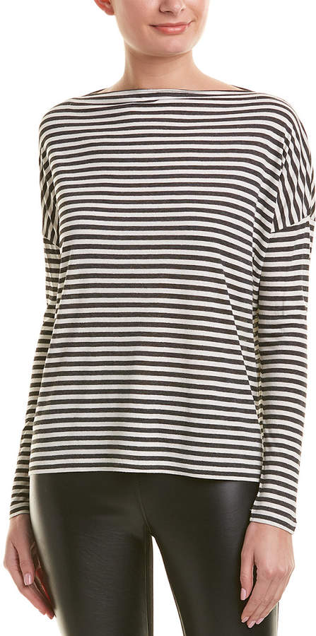 Vince Off-The-Shoulder Silk-Blend T-Shirt