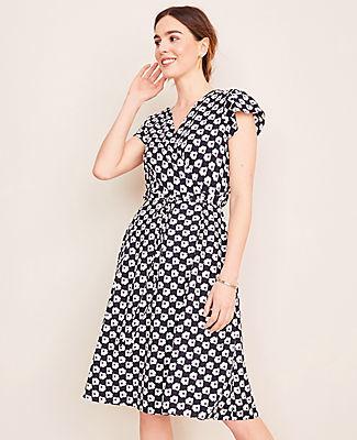 Ann Taylor Poppy Check Wrap Dress