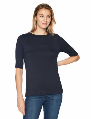 Lark & Ro Amazon Brand Women's Elbow-Sleeve Boat Neck Shirt