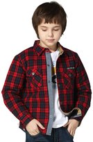 Leo&Lily Boys' Casual Yarns Dyed Flannel Quilted Jackets Shirts