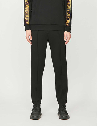 Fendi FF logo stripe-trimmed wool, cotton, silk and cashmere-blend jogging bottoms