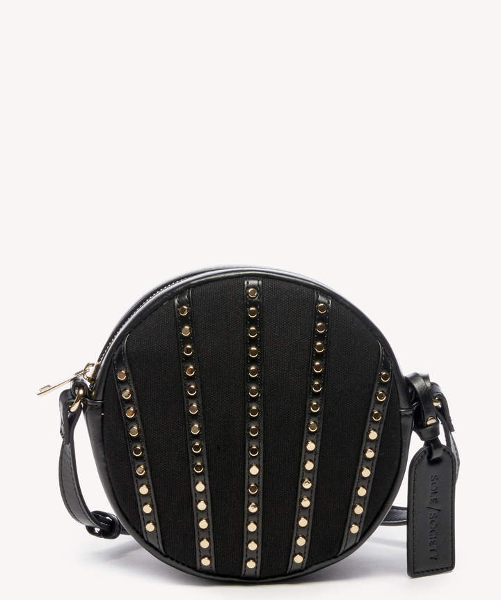 Sole Society Women's Aira Crossbody Bag Canvas Canteen Black Vegan Leather Cotton From