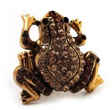 Avalaya Amber Coloured Diamante Frog Flex Ring (Antique Gold Metal) - Size 8/9 (Stretch)