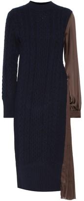 Sacai Cable-knit wool and satin midi dress