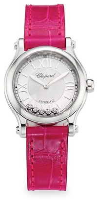 Chopard Happy Sport Stainless Steel, Diamond & Leather-Strap Watch
