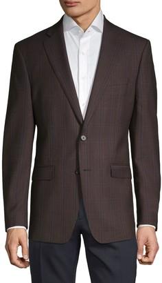 Calvin Klein Slim-Fit Plaid Wool-Blend Sportcoat