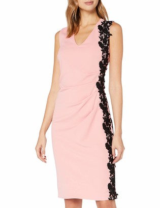 Gina Bacconi Women's Sabrine Moss Crepe Side Lace Trim Dress Cocktail