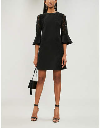 Valentino Ladies Nero Black Floral-Print Lace-Sleeve Wool And Silk-Blend Shift Dress