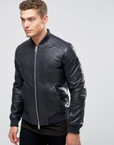 Boss Orange By Hugo Boss Jaggo Leather Bomber Jacket