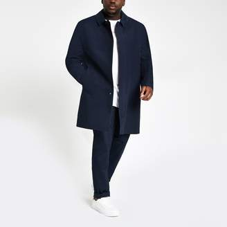River Island Mens Big and Tall Navy single button mac