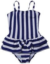 QRH Big Girls Poptical Stripes 1 Piece Swimsuit Navy Size 10-12 For Age 10-11 Years