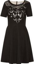 Badgley Mischka Wynne lace-paneled embroidered metallic cady mini dress