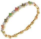 Lord & Taylor 18K Yellow Goldplated Multi-Stone Tennis Bracelet
