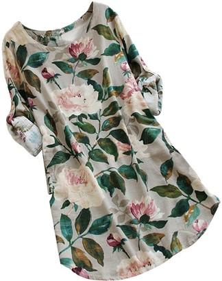 Ulanda Eu Ulanda-EU Clearance Womens Dresses Ladies Long Roll-up Sleeve Floral Print Dress Casual Holiday Beach Evening Party Mini Summer Dresses for Women (Beige S)