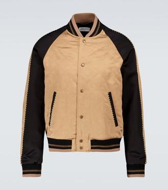 Saint Laurent Teddy varsity flamme satin jacket
