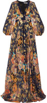 Chloé Exclusive Floral-print Metallic Fil Coupé Silk-gauze Maxi Dress - Navy
