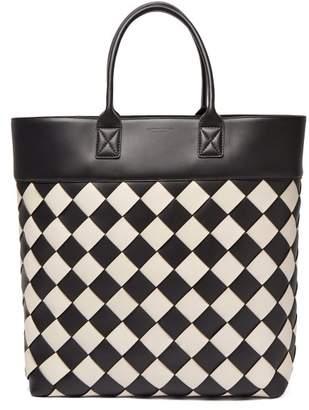 Bottega Veneta Intrecciato Leather Tote Bag - Womens - Black White
