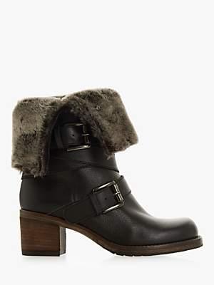 Dune Roko Block Heel Ankle Boots, Black Leather