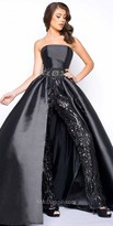 Mac Duggal Strapless Sequin Jumpsuit With Overskirt