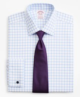 Brooks Brothers Stretch Madison Classic-Fit Dress Shirt, Non-Iron Twill Ainsley Collar French Cuff Grid Check