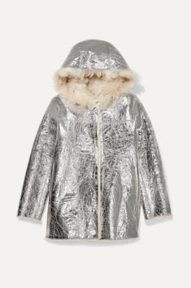 Yves Salomon Kids - Age 12 Reversible Hooded Shearling-lined Metallic Crinkled-leather Coat - Silver