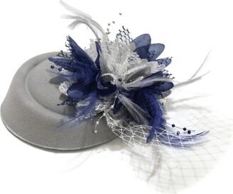 Caprilite Silver Grey and Navy Pillbox Fascinator Hat for Women Weddings Bird Cage Veil Clip