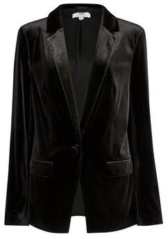 Dorothy Perkins Womens Tall Black Velvet Blazer, Black