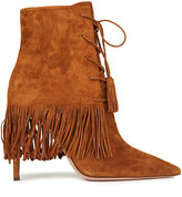 Thumbnail for your product : Aquazzura Mustang 105 Fringed Suede Ankle Boots