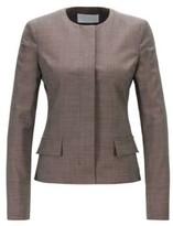 HUGO BOSS - Regular Fit Collarless Jacket In Italian Wool - Patterned