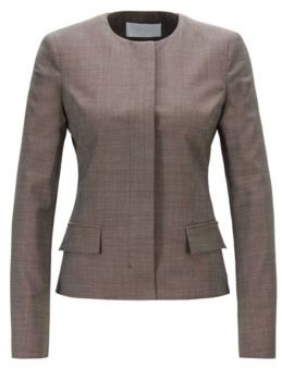 HUGO BOSS Regular Fit Collarless Jacket In Italian Wool - Patterned