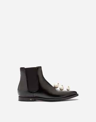 Dolce & Gabbana Polished Calfskin Chelsea Boots With Pearl Embroidery
