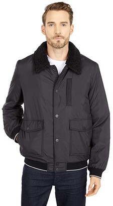 UGG Ethan Bomber Sherpa Jacket (Black) Men's Clothing