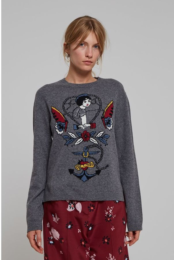 Valentino Wool And Cashmere Round Neck Sweater With American Tatoo Inspired Images