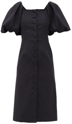 Sea Marianne Puff-sleeve Buttoned Cotton Dress - Black
