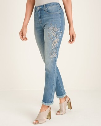 So Slimming Diamond Embellished Girlfriend Ankle Jeans