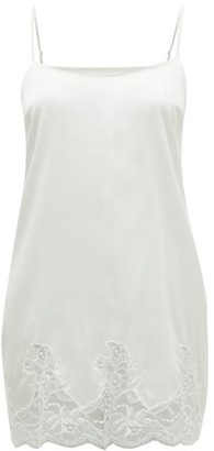 Fleur of England Signature Lace-trimmed Silk-blend Slip Dress - White