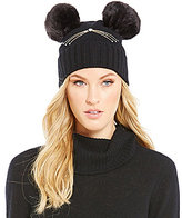 Kate Spade Embellished Cat Beanie with Faux-Fur Pom Details