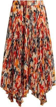 Proenza Schouler Floral Pleated Chiffon Skirt
