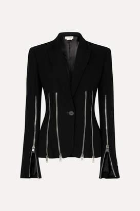 Alexander McQueen Zip-detailed Wool-blend Crepe Blazer - Black