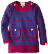 Hatley Button Neck Dress - Navy Stripe (Toddler/Little Kids/Big Kids)